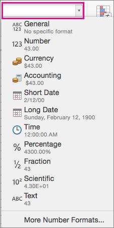 Caixa Formato de Número na guia Página Inicial