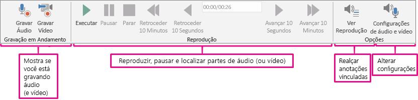 A faixa de opções Áudio