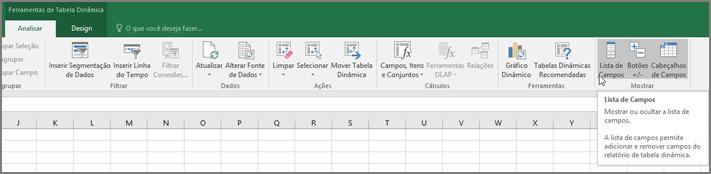 Opção de lista de campos na faixa de opções