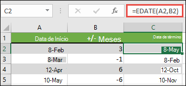 Use datam para adicionar ou subtrair meses de uma data. Nesse caso, = datam (a2, B2), em que a2 é uma data e B2 tem o número de meses a ser adicionado ou subtraído.
