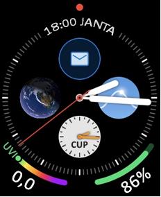Mostrador de um Apple Watch com o ícone de email