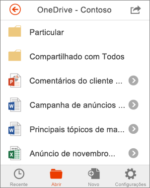 Arquivos do OneDrive no Office Mobile