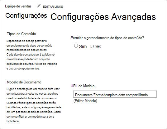 Configurações de biblioteca, em configurações avançadas, mostrando o campo de modelo de edição.