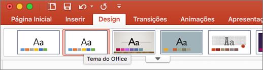 Captura de tela do Tema do Office na guia Design
