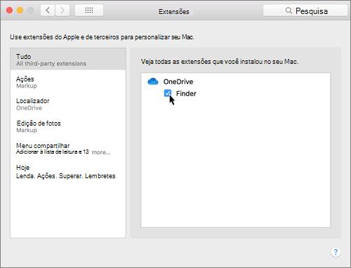 Captura de tela das Extensões nas preferências de sistema em um Mac