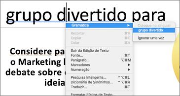 Palavras sublinhadas em azul com menu contextual mostrando sugestões de gramática