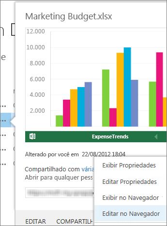 Visualização de um documento do Office em uma biblioteca SharePoint