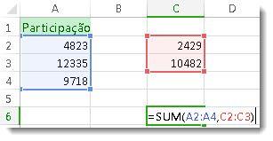Usando SOMA com dois intervalos de números