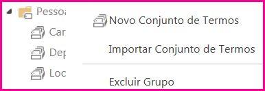 Na ferramenta de Repositório de Termos, você pode selecionar elementos no painel de navegação para abrir um menu