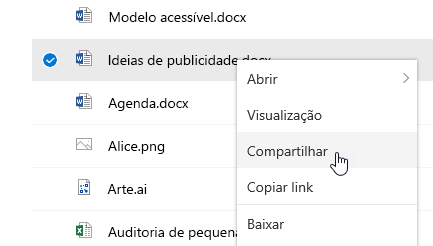 Captura de tela mostrando o menu de atalho de um arquivo selecionado com o comando Compartilhar destacado.