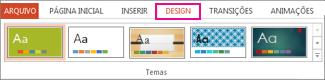 Galeria Temas na guia Design