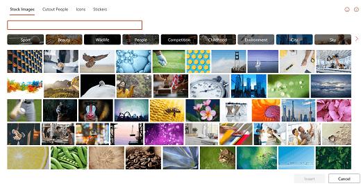 O seletor de conteúdo exibindo vários bancos de imagens para seleção.