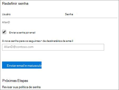 Captura de tela: Enviar redefinir email de notificação de senha ao usuário