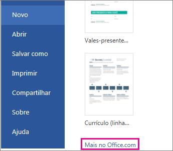 Clique em Mais no Office.com