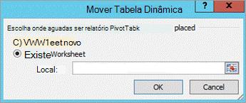 Caixa de diálogo mover tabela dinâmica