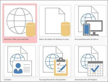 Exibição de modelos na tela inicial do Access