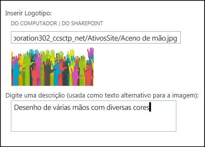 Caixa de diálogo Título e logotipo de novo site do SharePoint Online, mostrando como criar um texto alternativo para a imagem do logotipo