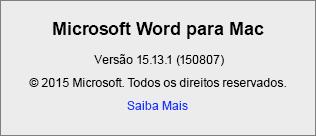 Captura de tela mostrando a página Sobre o Word no Word para Mac