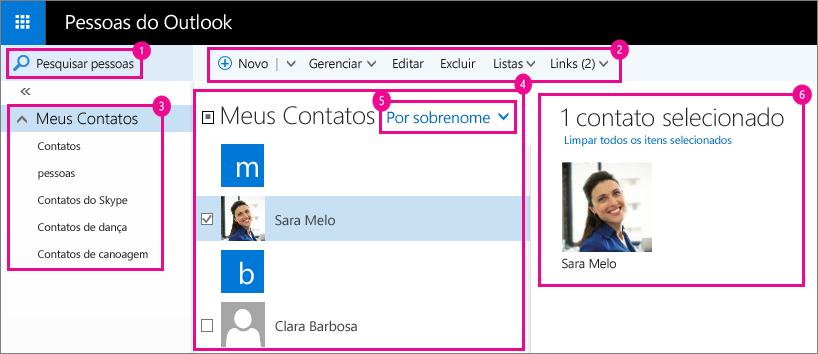 Captura de tela da página pessoas do Outlook.