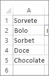 lista de valores para uso na caixa de combinação