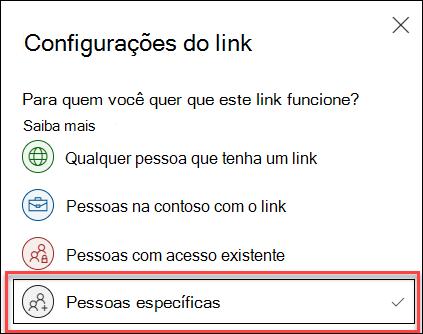 Configuração de link no OneDrive com a opção pessoas específicas realçada.