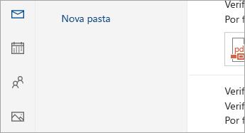 Uma captura de tela dos botões Email, Calendário, Pessoas, Fotos e Tarefas na parte inferior do painel de navegação