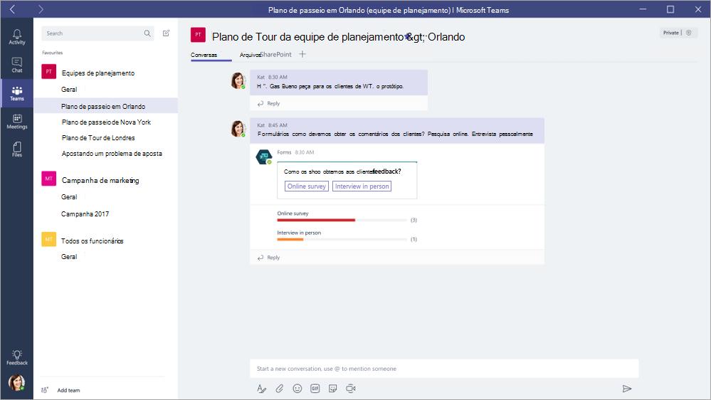 Respondendo a um QuickPoll do Microsoft Forms no Microsoft Teams