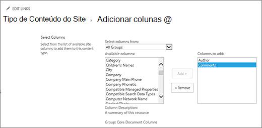Adicionar colunas existentes ao tipo de conteúdo