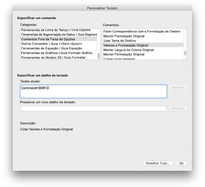 Personalizações de teclado no Excel para Mac