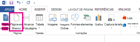 A opção Página em Branco está na guia Inserir.