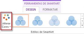 Opção Alterar Cores no grupo Estilos de SmartArt