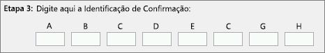 Mostra onde inserir a ID de confirmação que a Central de Ativação de Produtos fornece por telefone