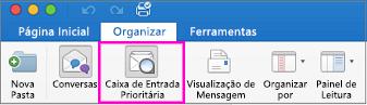 O botão Caixa de Entrada Destaques na guia Organizar da faixa de opções