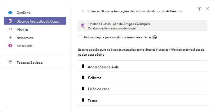Atribuir página como uma tarefa no Teams usando o Bloco de Anotações de Classe do OneNote