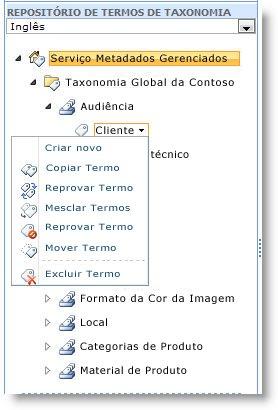 use o menu para gerenciar termos dentro de um conjunto de termos.