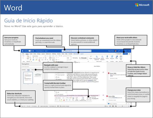 Guia de Início Rápido do Word 2016 para Windows