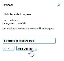 Criar a caixa de diálogo de biblioteca de imagens com mais opções realçado