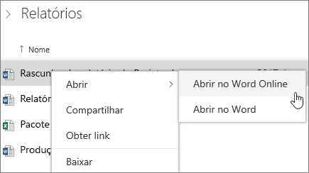 Abrir um arquivo do Word Online no OneDrive