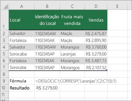 Exemplo das funções DESLOC e CORRESP