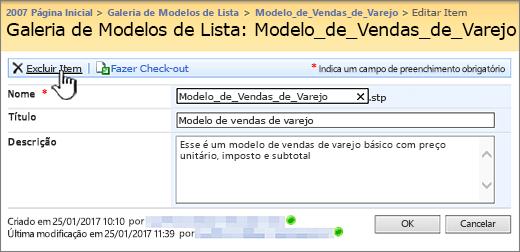 Edite a página de modelo de lista com a opção Excluir realçado.