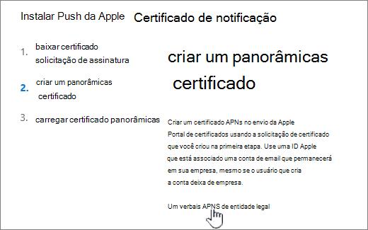 Instalar a caixa de diálogo do certificado de notificação APN com o Portal APNS da Apple selecionado