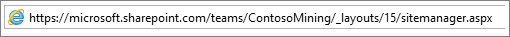 Barra de endereços do Internet Explorer com sitemanager.aspx inserido