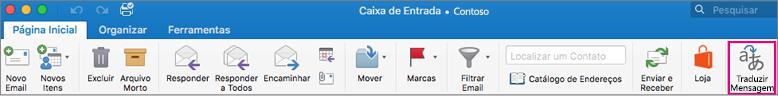 Botão no Outlook para a faixa de opções do Mac traduzir