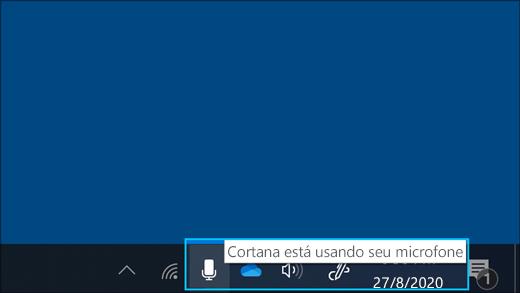 Captura de tela do ícone de microfone quando a Cortana estiver ativa.