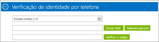 Captura de tela da seção Verificação de identidade por telefone da inscrição da assinatura do Azure, onde você insere o código de confirmação e, em seguida, clica em Verificar código.