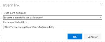 Caixa de diálogo hiperlink no Outlook na Web.