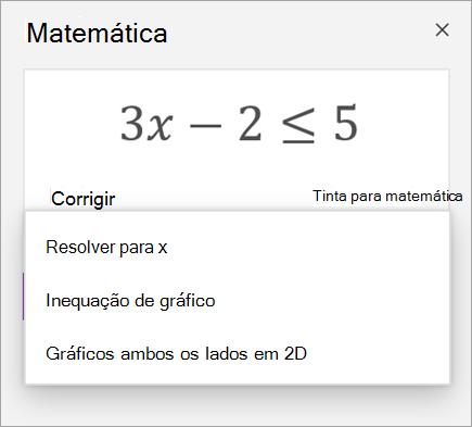 Uma equação com uma lista suspensa de maneiras de solucioná-lo.