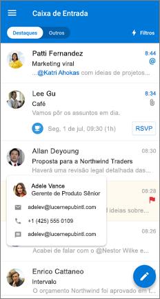 Caixa de entrada com as informações de contato de uma pessoa ampliadas