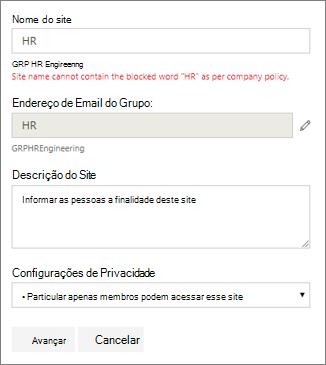 Captura de tela: Diretiva de nomenclatura de grupo - Site do SharePoint bloqueados nome