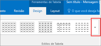 Captura de tela dos seis primeiros estilos de tabela e do botão Mais para ver todos os estilos de tabela.